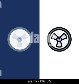 Biohazard, Chemist, Science  Icons. Flat and Line Filled Icon Set Vector Blue Background - Stock Photo