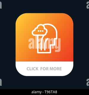 Activity, Brain, Mind, Head Mobile App Button. Android and IOS Line Version - Stock Photo