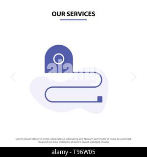Our Services Construction, Measuring, Scale, Tape Solid Glyph Icon Web card Template - Stock Photo