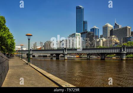 Melbourne, Australia, Victoria 18 December 2013. Pedestrian bridge proximity to sundridge across the Yarra river.  Metal sculptures tell the story of  - Stock Photo