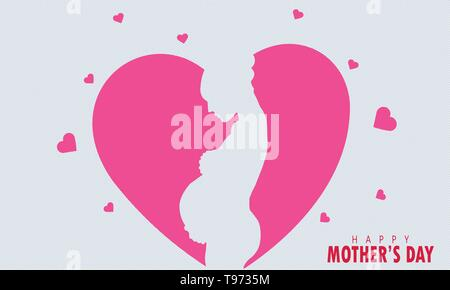 beautiful pregnant woman. happy mothers day. illustration - Stock Photo