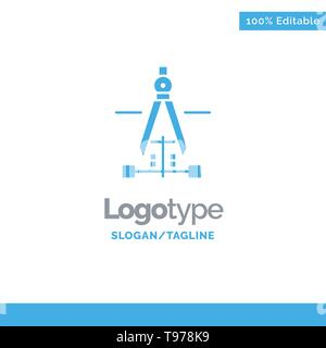 Compass, Drawing, Education, Engineering Blue Business Logo Template - Stock Photo