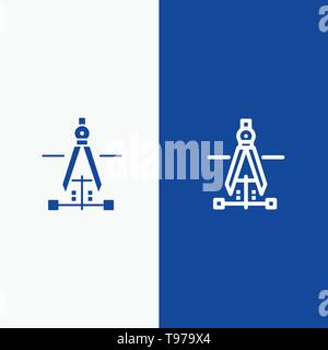 Compass, Drawing, Education, Engineering Line and Glyph Solid icon Blue banner - Stock Photo