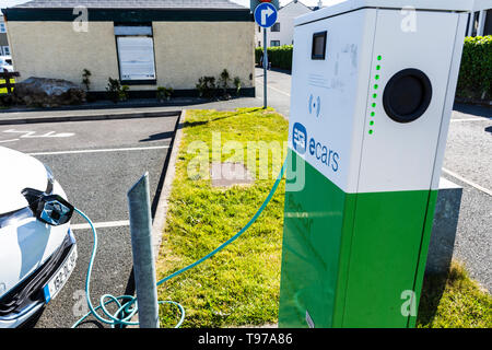 Electric car charging point esb e-car in Dungloe, County Donegal, Ireland. - Stock Photo
