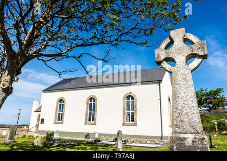 Gateway entrance to St. Crone's Church in Dungloe, County Donegal, Ireland. A Church of Ireland protestant place of worship. - Stock Photo