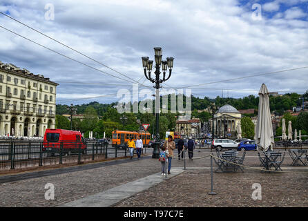 Turin, Piedmont, Italy. May 2019. Piazza vittorio, one of the main squares of the city. It is a meeting place for both day and night. In the backgroun - Stock Photo