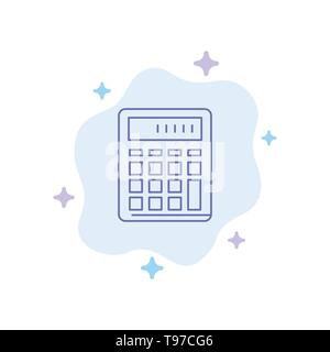 Calculator, Accounting, Business, Calculate, Financial, Math Blue Icon on Abstract Cloud Background - Stock Photo
