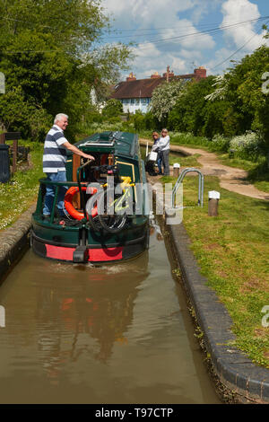 Narrowboat on the Stratford-on-Avon canal near the town centre, Warwickshire, England, United Kingdom, Europe - Stock Photo