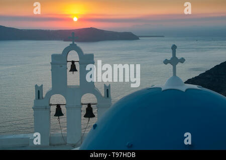 Sunset over the Caldera, Firostefani, Santorini, Greek Islands, Greece - Stock Photo