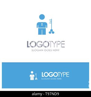 Solution, Key, Lock, Man, Person, Provider, Security Blue Solid Logo with place for tagline - Stock Photo