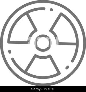 Radioactive warning sign, radiation, nuclear line icon. - Stock Photo