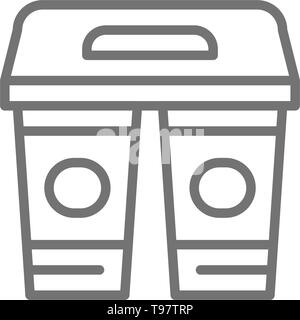 Drinks in cardboard cups, takeaway line icon. - Stock Photo