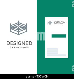Boxing, Ring, Wrestling Grey Logo Design and Business Card Template - Stock Photo