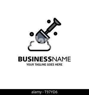 Construction, Shovel, Tool Business Logo Template. Flat Color - Stock Photo