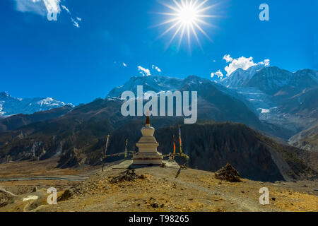 Traditional architecture stupa Manang village, surrounded mountains,Annapurna Conservation Area and annapurna circute.Manang Nepal - Stock Photo