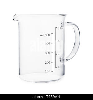 Empty beaker isolated on a white background - Stock Photo