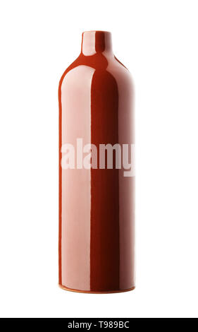 Brown earthen clay bottle of wine isolated on a white background - Stock Photo