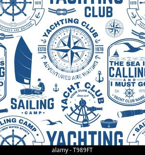 Yacht club seamless pattern or background. Vector illustration. Concept for yachting shirt, print, stamp or tee. Design with sea anchor, hand wheel, compass, sextant and rope knot silhouette. - Stock Photo