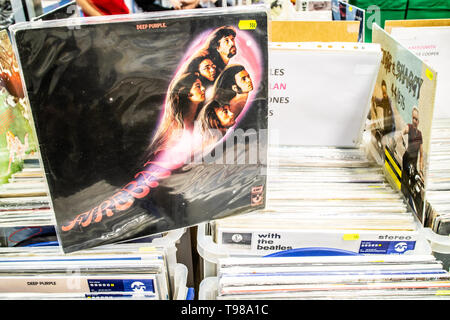 Nadarzyn, Poland, May 11, 2019 Deep Purple vinyl album on display for sale, Vinyl, LP, Album, Rock, English rock band, collection of Vinyls - Stock Photo