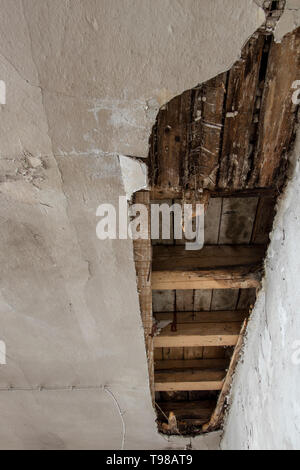 old ceiling in a state of decay - Stock Photo
