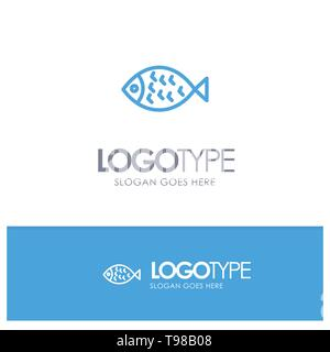 Fish, Food, Easter, Eat Blue Outline Logo Place for Tagline - Stock Photo