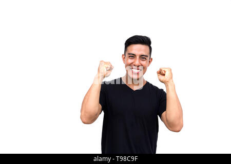 Handsome hispanic man happy and excited expressing success, power, energy and positive emotions. Isolated on white background. - Stock Photo