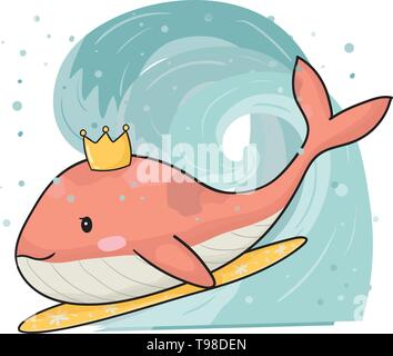 cute pink whale with crown on surfboard, surfing in big wave hand draw flat vector - Stock Photo