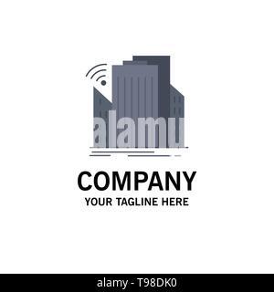Buildings, city, sensor, smart, urban Flat Color Icon Vector - Stock Photo