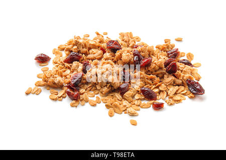 Granola with dried fruits on white background - Stock Photo