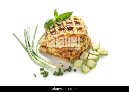 Squash waffles on white background - Stock Photo