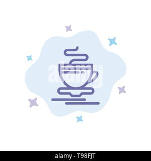 Tea, Cup, Hot, Hotel Blue Icon on Abstract Cloud Background - Stock Photo