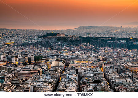 Scenic panoramic view on Acropolis in Athens, Greece at sunset. - Stock Photo