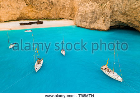 Navagio bay and Ship Wreck beach in summer. Zakynthos, Greece - Stock Photo