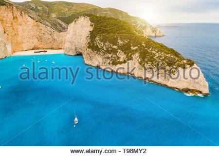 Navagio bay and Ship Wreck beach in summer. Zakynthos,Greece n the Ionian Sea - Stock Photo