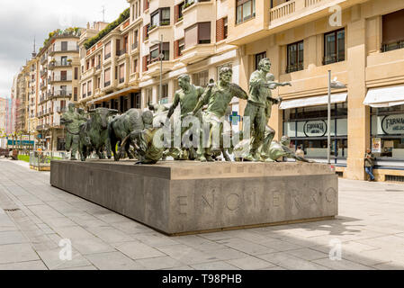 PAMPLONA, NAVARRA, SPAIN - MAY 01 2019:  Perspective of the beautiful Monument to Running of the Bulls (Monumento al Encierro) in Pamplona. It was cas - Stock Photo