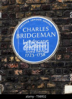 Greater London Blue Plaque marking a home of landscape gardener Charles Bridgeman 1723-1738 Broadwick Street, Soho, London, UK - Stock Photo