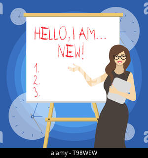 Word writing text Hello I Am New. Business photo showcasing used greeting or begin telephone conversation - Stock Photo