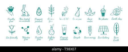 Eco friendly, ecology vector hand drawn icons set. Organic cosmetics, zero waste, save earth and healthy lifestyle - Stock Photo