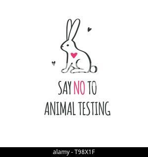 Say NO to animal testing, cruelty free Vector conceptual illustration. Symbol, logo in cartoon, sketch - Stock Photo