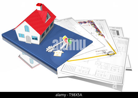 3D illustration. Home purchase, sale. House symbol in purchase, sale, with documents and property keys. - Stock Photo