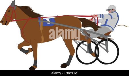 horse and jockey harness racing color illustration - vector - Stock Photo