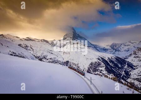 Gornergrat Railway on the Matterhorn, Zermatt, Switzerland - Stock Photo