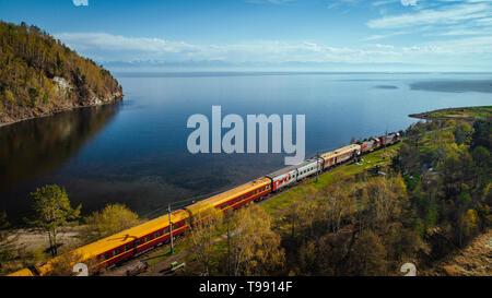 Trans-Siberian Railway at Lake Baikal, Siberia, Russia