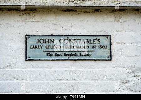 Sign on a cottage which was once the studio of the famous painter John Constable. - Stock Photo