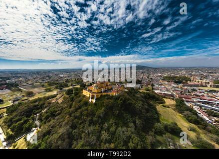 The Great Pyramid of Cholula is the biggest pyramid in the world, Cholula de Rivadavia, Puebla, Mexico - Stock Photo