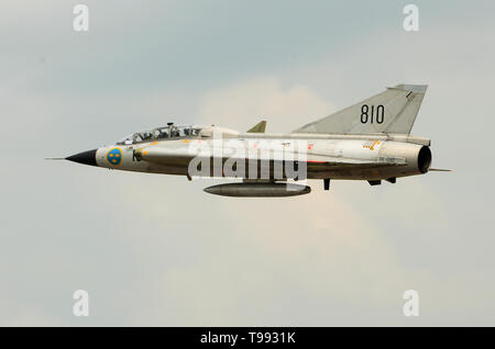 Saab 35 Draken cold war fighter aircraft - Stock Photo