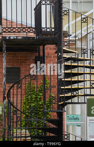 Abstract of architectural curved staircase outside the Riverside shopping centre, Evesham, England, United Kingdom, Europe - Stock Photo