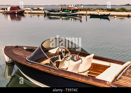 Close-up view of old speed boat in retro style - Stock Photo