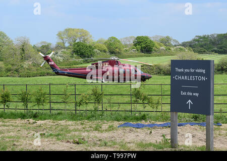 Queen's Helicopter Flight G-XXEB at Charleston England , visit of Duchess of Cornwall Patron of Charleston. Home of Bloomsbury Group from 1916 - Stock Photo