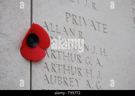 Names of the missing on the walls of the Menin Gate in Ypres, Belgium - Stock Photo